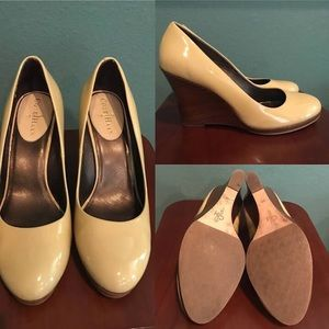 Cole Haan Patent Leather Wood Heel Wedges